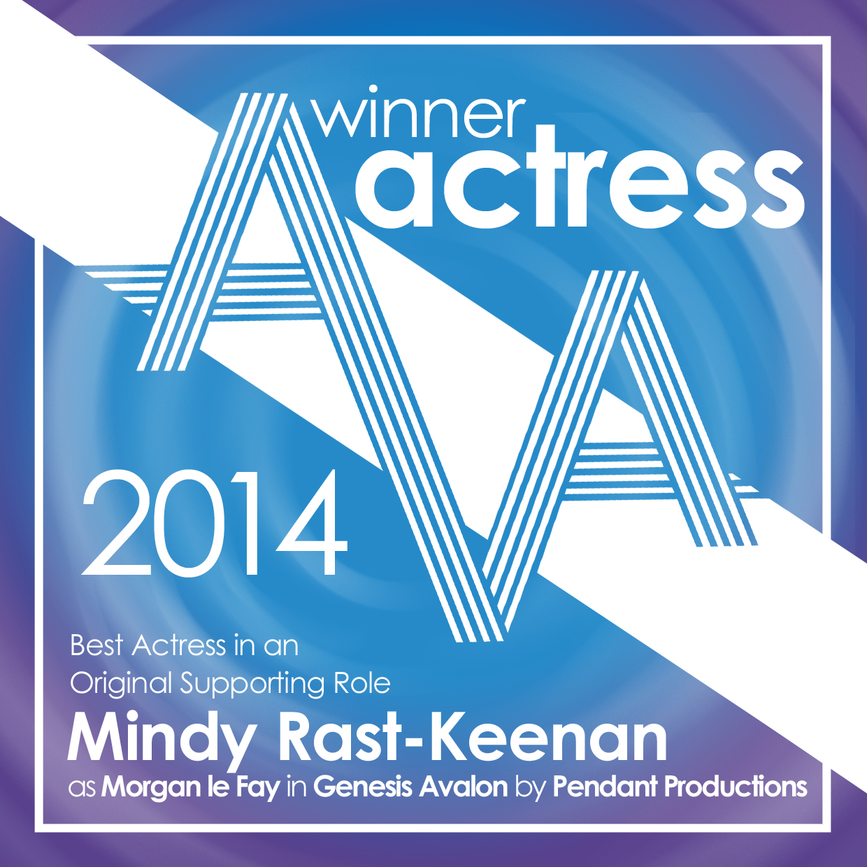 Mindy Rast Keenan Winner Of The  Audio Verse Award For Best Actress In An Original Supporting Role For Morgan Le Fay In Genesis Avalon